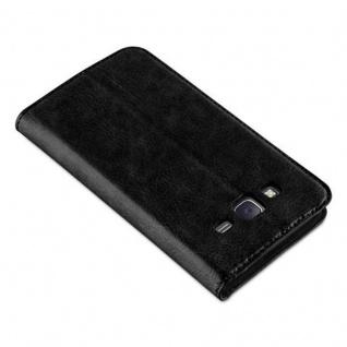 Cadorabo Hülle für Samsung Galaxy J5 2015 in NACHT SCHWARZ - Handyhülle mit Magnetverschluss, Standfunktion und Kartenfach - Case Cover Schutzhülle Etui Tasche Book Klapp Style - Vorschau 4