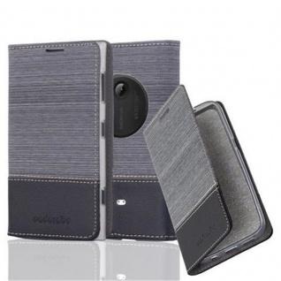 Cadorabo Hülle für Nokia Lumia 1020 - Hülle in GRAU SCHWARZ ? Handyhülle mit Standfunktion und Kartenfach im Stoff Design - Case Cover Schutzhülle Etui Tasche Book