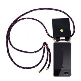Cadorabo Handy Kette für Google Pixel 2 XL in BLAU ROT WEISS GEPUNKTET - Silikon Necklace Umhänge Hülle mit Gold Ringen, Kordel Band Schnur und abnehmbarem Etui ? Schutzhülle