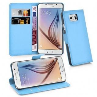 Cadorabo Hülle für Samsung Galaxy S6 in PASTEL BLAU - Handyhülle mit Magnetverschluss, Standfunktion und Kartenfach - Case Cover Schutzhülle Etui Tasche Book Klapp Style