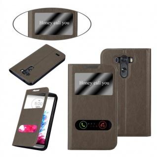 Cadorabo Hülle für LG G3 in STEIN BRAUN ? Handyhülle mit Magnetverschluss, Standfunktion und 2 Sichtfenstern ? Case Cover Schutzhülle Etui Tasche Book Klapp Style - Vorschau 3