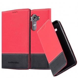 Cadorabo Hülle für LG G4 / G4 PLUS in ROT SCHWARZ ? Handyhülle mit Magnetverschluss, Standfunktion und Kartenfach ? Case Cover Schutzhülle Etui Tasche Book Klapp Style