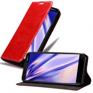 Cadorabo Hülle für Nokia 3.1 2018 in APFEL ROT - Handyhülle mit Magnetverschluss, Standfunktion und Kartenfach - Case Cover Schutzhülle Etui Tasche Book Klapp Style