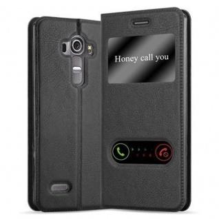Cadorabo Hülle für LG G4 / G4 PLUS in KOMETEN SCHWARZ - Handyhülle mit Magnetverschluss, Standfunktion und 2 Sichtfenstern - Case Cover Schutzhülle Etui Tasche Book Klapp Style