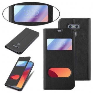 Cadorabo Hülle für LG G6 in KOMETEN SCHWARZ - Handyhülle mit Magnetverschluss, Standfunktion und 2 Sichtfenstern - Case Cover Schutzhülle Etui Tasche Book Klapp Style - Vorschau 4