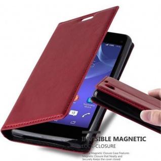 Cadorabo Hülle für Sony Xperia Z1 COMPACT in APFEL ROT - Handyhülle mit Magnetverschluss, Standfunktion und Kartenfach - Case Cover Schutzhülle Etui Tasche Book Klapp Style