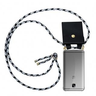 Cadorabo Handy Kette für OnePlus 3 / 3T in SCHWARZ CAMOUFLAGE - Silikon Necklace Umhänge Hülle mit Gold Ringen, Kordel Band Schnur und abnehmbarem Etui ? Schutzhülle