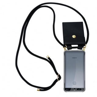 Cadorabo Handy Kette für Huawei P9 PLUS in SCHWARZ Silikon Necklace Umhänge Hülle mit Gold Ringen, Kordel Band Schnur und abnehmbarem Etui Schutzhülle