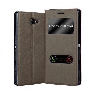 Cadorabo Hülle für Sony Xperia M2 / M2 Aqua in STEIN BRAUN - Handyhülle mit Magnetverschluss, Standfunktion und 2 Sichtfenstern - Case Cover Schutzhülle Etui Tasche Book Klapp Style