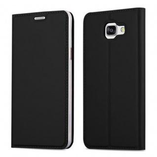 Cadorabo Hülle für Samsung Galaxy A5 2016 in CLASSY SCHWARZ - Handyhülle mit Magnetverschluss, Standfunktion und Kartenfach - Case Cover Schutzhülle Etui Tasche Book Klapp Style