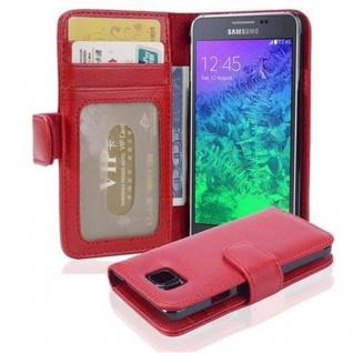 Cadorabo Hülle für Samsung Galaxy ALPHA in INFERNO ROT - Handyhülle mit Magnetverschluss und 3 Kartenfächern - Case Cover Schutzhülle Etui Tasche Book Klapp Style