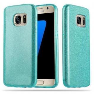 Cadorabo Hülle für Samsung Galaxy S7 - Hülle in STERNENSTAUB TÜRKIS ? TPU Silikon und Hardcase Handyhülle im Glitzer Design - Hard Case TPU Silikon Schutzhülle