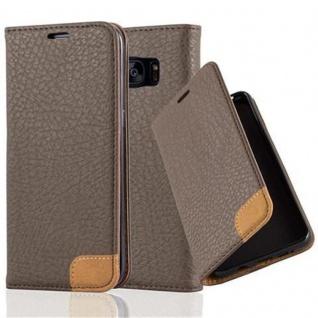 Cadorabo Hülle für Samsung Galaxy S7 EDGE - Hülle in ERD BRAUN ? Handyhülle mit Standfunktion, Kartenfach und Textil-Patch - Case Cover Schutzhülle Etui Tasche Book Klapp Style