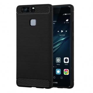 Cadorabo Hülle für Huawei P9 - Hülle in BRUSHED SCHWARZ - Handyhülle aus TPU Silikon in Edelstahl-Karbonfaser Optik - Silikonhülle Schutzhülle Ultra Slim Soft Back Cover Case Bumper