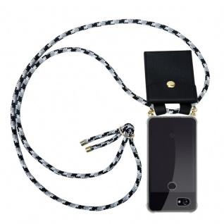 Cadorabo Handy Kette für Google Pixel 2 XL in SCHWARZ CAMOUFLAGE Silikon Necklace Umhänge Hülle mit Gold Ringen, Kordel Band Schnur und abnehmbarem Etui Schutzhülle