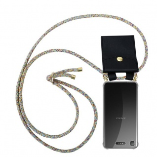 Cadorabo Handy Kette für Sony Xperia XZ1 in RAINBOW - Silikon Necklace Umhänge Hülle mit Gold Ringen, Kordel Band Schnur und abnehmbarem Etui ? Schutzhülle