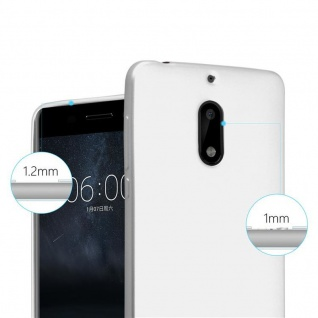 Cadorabo Hülle für Nokia 6 2017 in METALLIC SILBER - Handyhülle aus flexiblem TPU Silikon - Silikonhülle Schutzhülle Ultra Slim Soft Back Cover Case Bumper - Vorschau 5