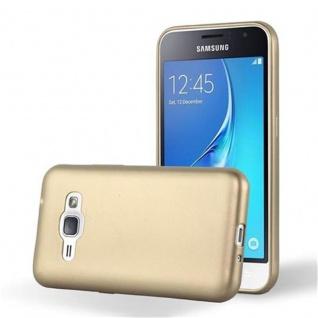 Cadorabo Hülle für Samsung Galaxy J1 2015 in METALLIC GOLD - Handyhülle aus flexiblem TPU Silikon - Silikonhülle Schutzhülle Ultra Slim Soft Back Cover Case Bumper