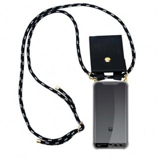 Cadorabo Handy Kette für Huawei P10 in SCHWARZ SILBER ? Silikon Necklace Umhänge Hülle mit Gold Ringen, Kordel Band Schnur und abnehmbarem Etui ? Schutzhülle