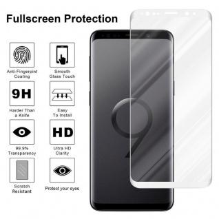 Cadorabo Vollbild Panzer Folie für Samsung Galaxy S9 - Schutzfolie in TRANSPARENT mit WEISS - Gehärtetes (Tempered) Display-Schutzglas in 9H Härte mit 3D Touch Kompatibilität - Vorschau 4