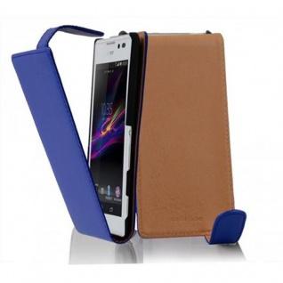 Cadorabo Hülle für Sony Xperia C in BRILLIANT BLAU - Handyhülle im Flip Design aus glattem Kunstleder - Case Cover Schutzhülle Etui Tasche Book Klapp Style
