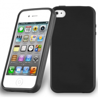 Cadorabo Hülle für Apple iPhone 4 / iPhone 4S in SCHWARZ - Handyhülle aus flexiblem TPU Silikon - Silikonhülle Schutzhülle Ultra Slim Soft Back Cover Case Bumper - Vorschau 1