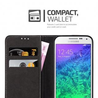 Cadorabo Hülle für Samsung Galaxy ALPHA in SCHWARZ BRAUN ? Handyhülle mit Magnetverschluss, Standfunktion und Kartenfach ? Case Cover Schutzhülle Etui Tasche Book Klapp Style - Vorschau 3