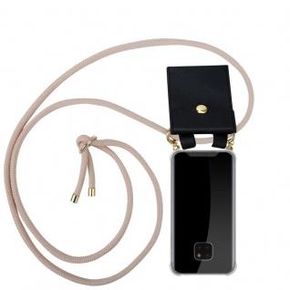 Cadorabo Handy Kette für Huawei MATE 20 PRO in PERLIG ROSÉGOLD - Silikon Necklace Umhänge Hülle mit Gold Ringen, Kordel Band Schnur und abnehmbarem Etui ? Schutzhülle