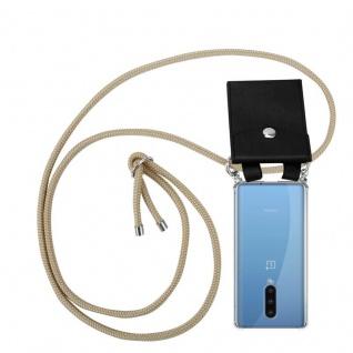 Cadorabo Handy Kette für Oneplus 8 in GLÄNZEND BRAUN Silikon Necklace Umhänge Hülle mit Silber Ringen, Kordel Band Schnur und abnehmbarem Etui Schutzhülle