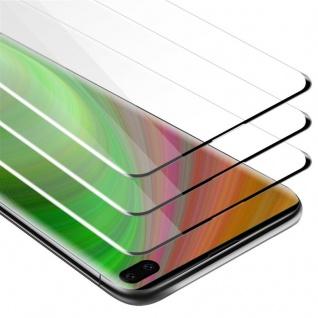 Cadorabo 3x Vollbild Panzer Folie für Samsung Galaxy S10 PLUS Schutzfolie in TRANSPARENT mit SCHWARZ 3er Pack Gehärtetes (Tempered) Display-Schutzglas in 9H Härte mit 3D Touch