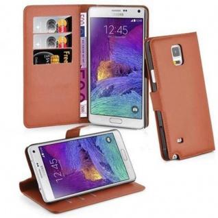 Cadorabo Hülle für Samsung Galaxy NOTE 4 - Hülle in SCHOKO BRAUN ? Handyhülle mit Kartenfach und Standfunktion - Case Cover Schutzhülle Etui Tasche Book Klapp Style