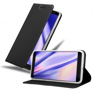 Cadorabo Hülle für ZTE Blade V9 in CLASSY SCHWARZ - Handyhülle mit Magnetverschluss, Standfunktion und Kartenfach - Case Cover Schutzhülle Etui Tasche Book Klapp Style