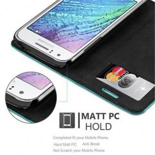 Cadorabo Hülle für Samsung Galaxy J1 2015 in PETROL TÜRKIS - Handyhülle mit Magnetverschluss, Standfunktion und Kartenfach - Case Cover Schutzhülle Etui Tasche Book Klapp Style - Vorschau 5