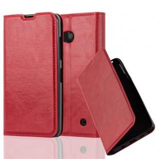 Cadorabo Hülle für Nokia Lumia 550 in APFEL ROT - Handyhülle mit Magnetverschluss, Standfunktion und Kartenfach - Case Cover Schutzhülle Etui Tasche Book Klapp Style