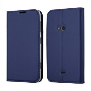 Cadorabo Hülle für Nokia Lumia 625 in CLASSY DUNKEL BLAU - Handyhülle mit Magnetverschluss, Standfunktion und Kartenfach - Case Cover Schutzhülle Etui Tasche Book Klapp Style