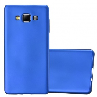 Cadorabo Hülle für Samsung Galaxy A7 2015 in METALLIC BLAU - Handyhülle aus flexiblem TPU Silikon - Silikonhülle Schutzhülle Ultra Slim Soft Back Cover Case Bumper