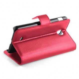 Cadorabo Hülle für LG F5 / LUCID 2 in KARMIN ROT - Handyhülle mit Magnetverschluss, Standfunktion und Kartenfach - Case Cover Schutzhülle Etui Tasche Book Klapp Style - Vorschau 4