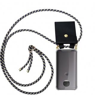 Cadorabo Handy Kette für Motorola MOTO G5S PLUS in DUNKELBLAU GELB Silikon Necklace Umhänge Hülle mit Gold Ringen, Kordel Band Schnur und abnehmbarem Etui Schutzhülle
