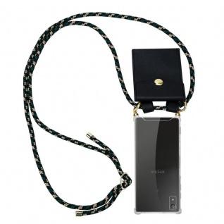 Cadorabo Handy Kette für Sony Xperia XA1 in CAMOUFLAGE ? Silikon Necklace Umhänge Hülle mit Gold Ringen, Kordel Band Schnur und abnehmbarem Etui ? Schutzhülle