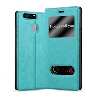 Cadorabo Hülle für Huawei P9 in MINT TÜRKIS Handyhülle mit Magnetverschluss, Standfunktion und 2 Sichtfenstern Case Cover Schutzhülle Etui Tasche Book Klapp Style