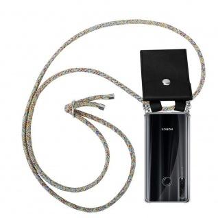 Cadorabo Handy Kette für Honor 20e in RAINBOW Silikon Necklace Umhänge Hülle mit Silber Ringen, Kordel Band Schnur und abnehmbarem Etui Schutzhülle