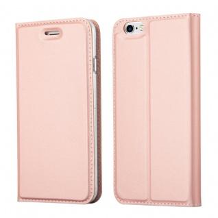 Cadorabo Hülle für Apple iPhone 6 / iPhone 6S - Hülle in ROSÉ Gold ? Handyhülle mit Standfunktion und Kartenfach im Metallic Look - Case Cover Schutzhülle Etui Tasche Book Klapp Style