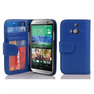 Cadorabo Hülle für HTC ONE M8 (2. Gen.) in NEPTUN BLAU - Handyhülle mit Magnetverschluss und 3 Kartenfächern - Case Cover Schutzhülle Etui Tasche Book Klapp Style