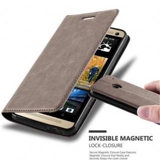 Cadorabo Hülle für HTC ONE M7 (1.Generation) in KAFFEE BRAUN - Handyhülle mit Magnetverschluss, Standfunktion und Kartenfach - Case Cover Schutzhülle Etui Tasche Book Klapp Style