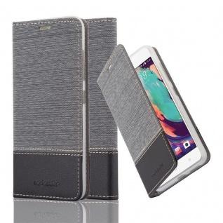 Cadorabo Hülle für HTC Desire 10 PRO in GRAU SCHWARZ - Handyhülle mit Magnetverschluss, Standfunktion und Kartenfach - Case Cover Schutzhülle Etui Tasche Book Klapp Style