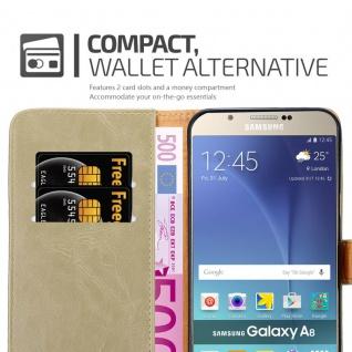 Cadorabo Hülle für Samsung Galaxy A8 2015 in CAPPUCCINO BRAUN - Handyhülle mit Magnetverschluss, Standfunktion und Kartenfach - Case Cover Schutzhülle Etui Tasche Book Klapp Style - Vorschau 5