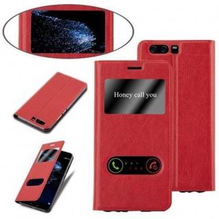 Cadorabo Hülle für Huawei P10 in SAFRAN ROT - Handyhülle mit Magnetverschluss, Standfunktion und 2 Sichtfenstern - Case Cover Schutzhülle Etui Tasche Book Klapp Style - Vorschau 4