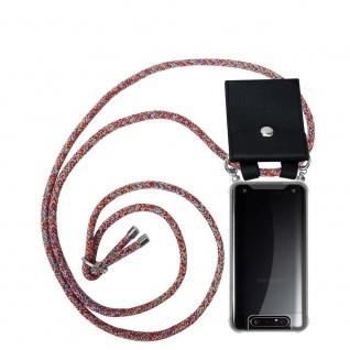 Cadorabo Handy Kette für Samsung Galaxy A80 / A90 in COLORFUL PARROT Silikon Necklace Umhänge Hülle mit Silber Ringen, Kordel Band Schnur und abnehmbarem Etui Schutzhülle
