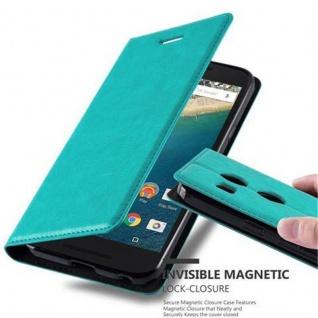 Cadorabo Hülle für LG NEXUS 5X in PETROL TÜRKIS - Handyhülle mit Magnetverschluss, Standfunktion und Kartenfach - Case Cover Schutzhülle Etui Tasche Book Klapp Style