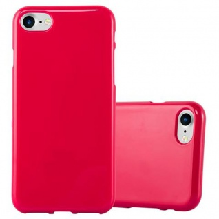 Cadorabo Hülle für Apple iPhone 7 / iPhone 7S / iPhone 8 in JELLY ROT - Handyhülle aus flexiblem TPU Silikon - Silikonhülle Schutzhülle Ultra Slim Soft Back Cover Case Bumper